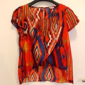 Red and Blue Blouse for Women